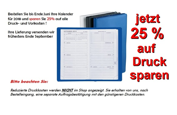 Kalenderaktion, Frühbesteller, Kalender preiswert bedruckt