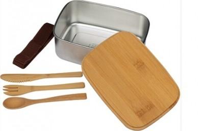 Brotzeitdose aus Edelstahl mit Bambusdeckel