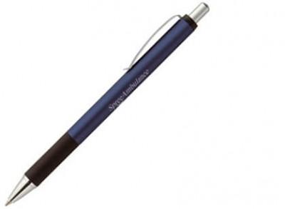 Kugelschreiber aus Aluminium, ergonomischer Gummigriffzone, Metall-Clip, Spitze und Drücker matt verchromt