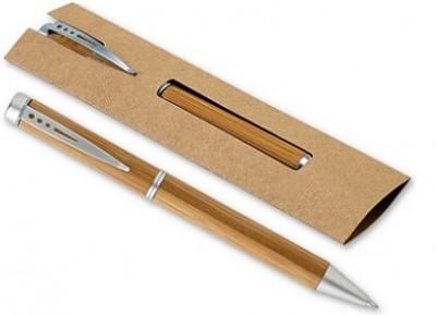 Werbe-Kugelschreiber aus Bambus mit Einsteck-etui auf Pappe