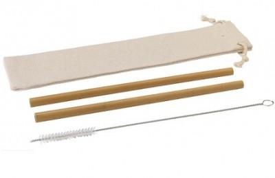 2er Set Bambus-Strohhalme mit Bürste im praktischen Beutel
