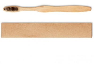 Bambus-Zahnbürste im recycelten Karton für Erwachsene und kleine Kinder.