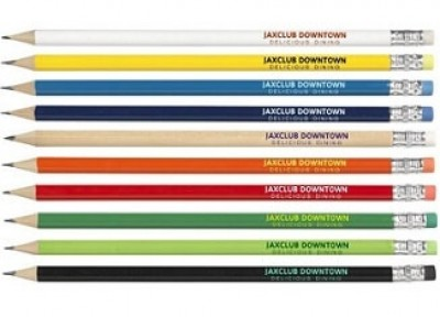 Bleistift gespitzt mit Radiergummi als Werbeartikel