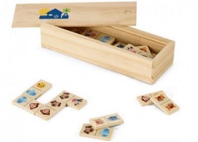 Domino in Holzbox als perfekte Werbemittel für Kinder