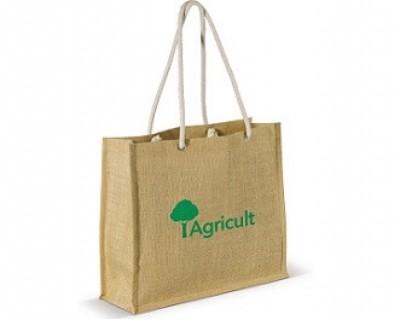 Jute-Einkaufstasche als Werbegeschenk mit Logo bedruckt