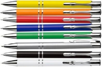 Farblicher Aluminium-Kugelschreiber preiswert