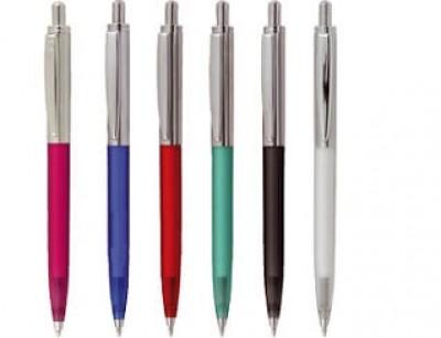Metallkugelschreiber mit gefrostetem Kunststoffschaft in vielen Farben