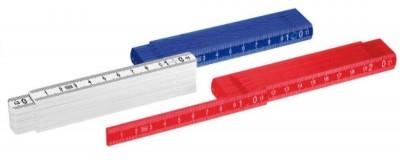 Zollstock aus Kunstoff, in rot, blau und weiß