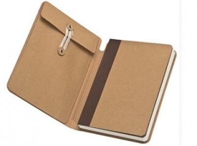 Notizbuch mit Extrafach. Umschlag naturfarben