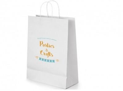 Kleine weiße Papiertasche mit Kordel für Messen optimal