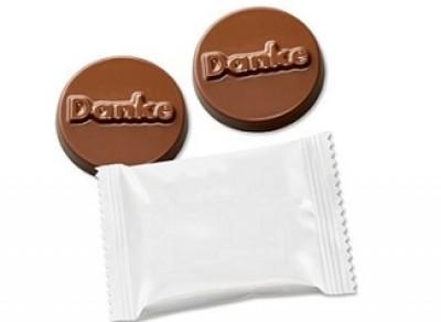 Schokolade mit Werbetütchen bedruckt als Werbeartikel