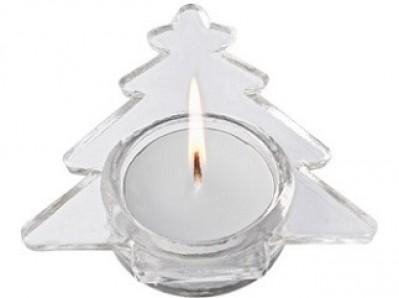 Kerzenhaltern aus Glas mit Logo per Etikett bedruckt