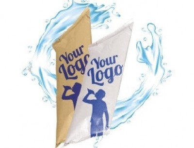 Werbewasser in Beutel mit Logo bedruckt