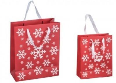 Weihnachtstüte Schneeflocke mit Henkel in zwei Größen