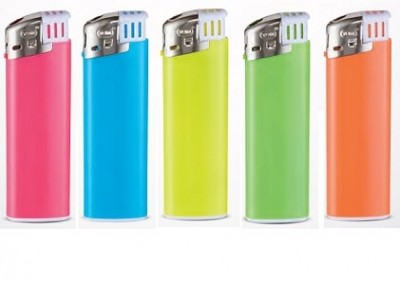 Neonfarbige elektronische Feuerzeuge aus dem Hause TOM